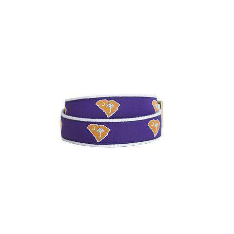 Men's Belts - SC Clemson Gameday Leather Tab Belt In Purple Ribbon With White Canvas Backing By State Traditions