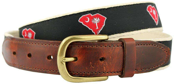 SC Columbia Gameday Leather Tab Belt in Black Ribbon with White Canvas Backing by State Traditions - Country Club Prep