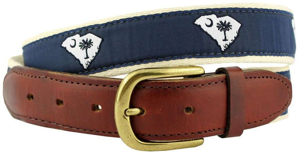 SC Traditional Leather Tab Belt in Blue Ribbon with White Canvas Backing by State Traditions - Country Club Prep