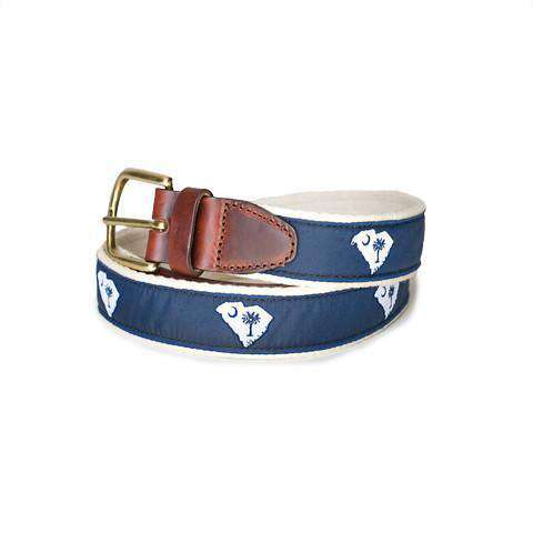 SC Traditional Leather Tab Belt in Blue Ribbon with White Canvas Backing by State Traditions