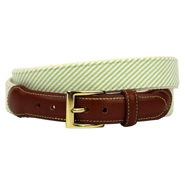 Seersucker Leather Tab Belt in Green by Country Club Prep -