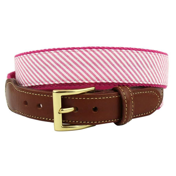 Seersucker Leather Tab Belt in Hot Pink by Country Club Prep
