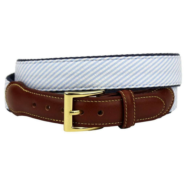 Seersucker Leather Tab Belt in Light Blue by Country Club Prep