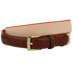 Seersucker Leather Tab Belt in Orange by Country Club Prep