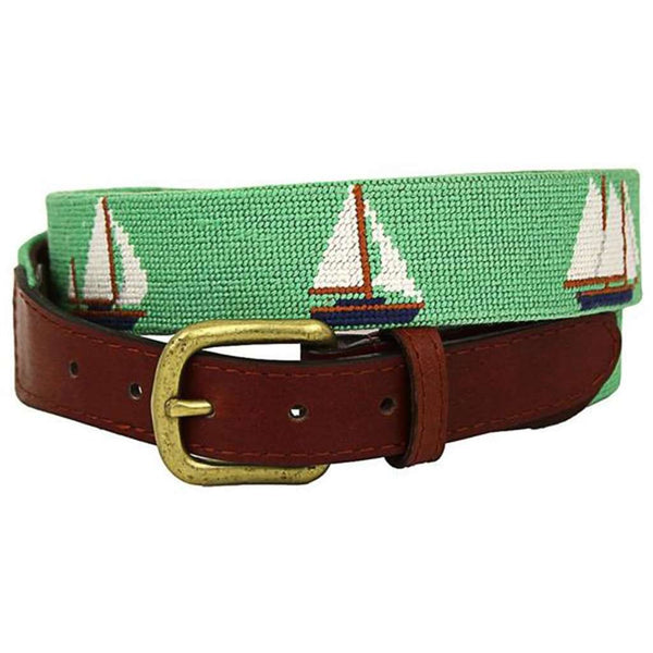 Set Sail Needlepoint Belt in Mint by Smathers & Branson