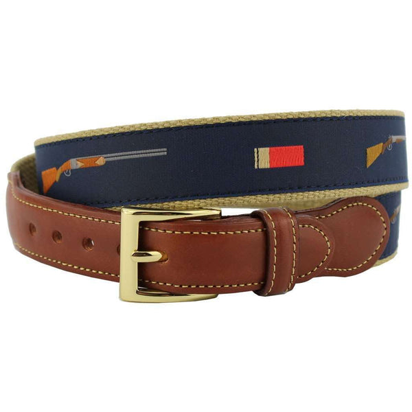 Shotgun and Shells Leather Tab Belt in Navy on Khaki Canvas by Country Club Prep