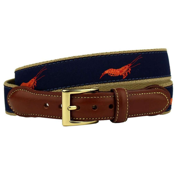 Shrimp, not Prawns, Leather Tab Belt in Navy by Country Club Prep