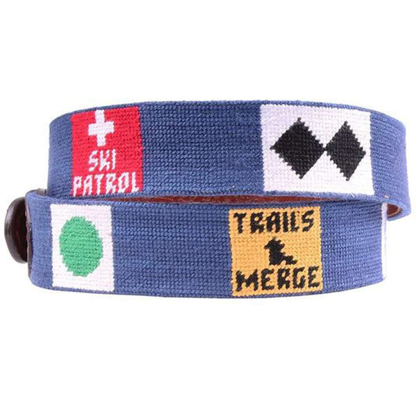 Ski Signs Needlepoint Belt in Classic Navy by Smathers & Branson