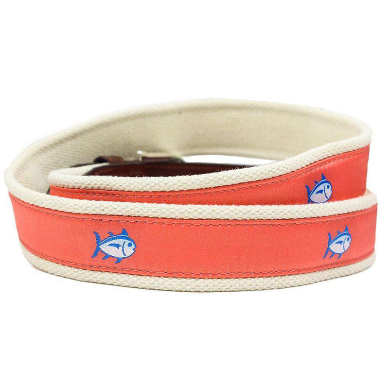Skipjack Ribbon Belt in Nautical Orange by Southern Tide