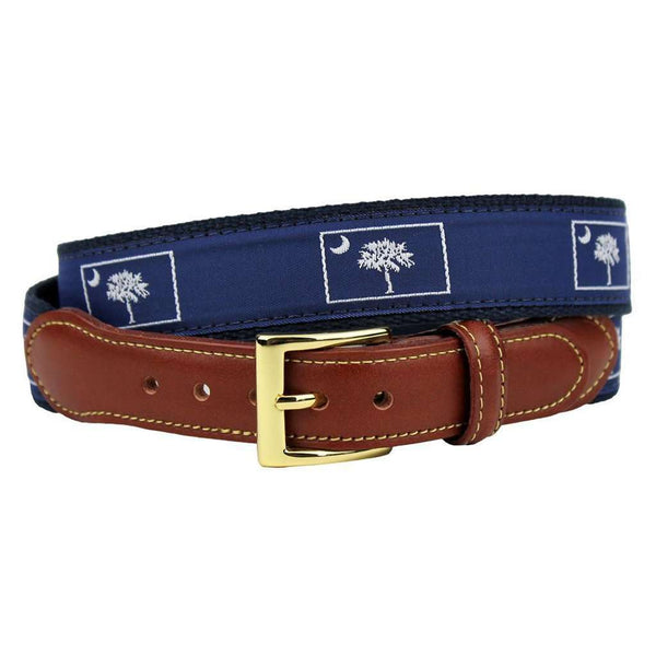 South Carolina Leather Tab Belt in Navy on Navy Canvas by Country Club Prep