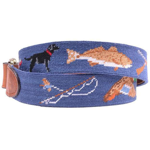 Southern Sportsman Needlepoint D-Ring Belt in Classic Navy by Smathers & Branson