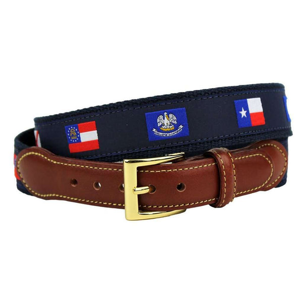 Southern States' Flags Leather Tab Belt in Navy on Navy Canvas by Country Club Prep