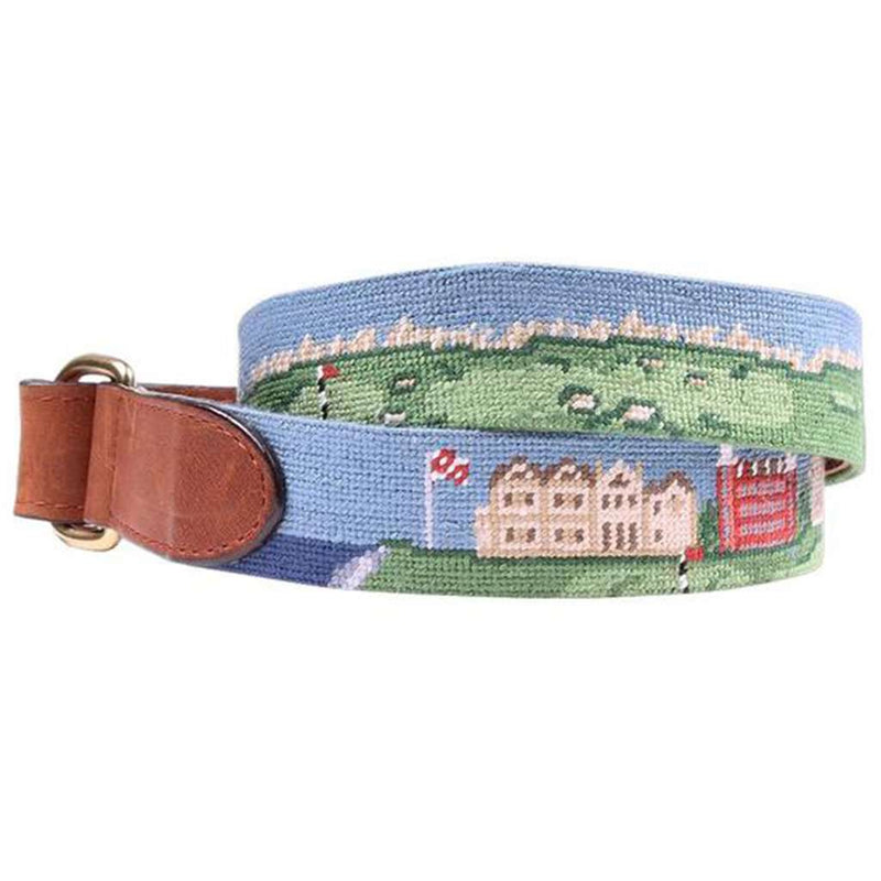 St Andrews Scene Needlepoint D-Ring Belt by Smathers & Branson
