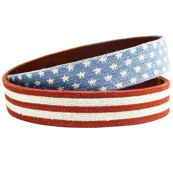 Stars and Stripes Needlepoint Belt in Red, White and Blue by Smathers & Branson