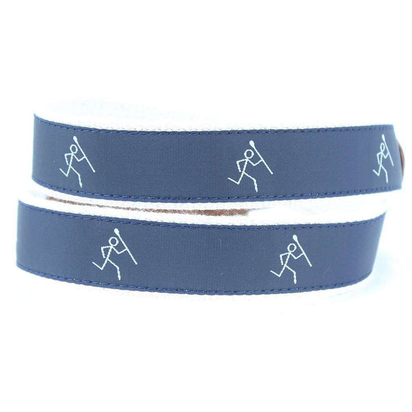 Stick Man Leather Tab Belt in Navy by Country Club Prep