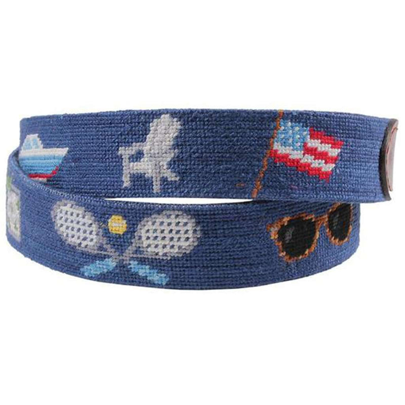 Summer Prep Needlepoint Belt in Classic Navy by Smathers & Branson