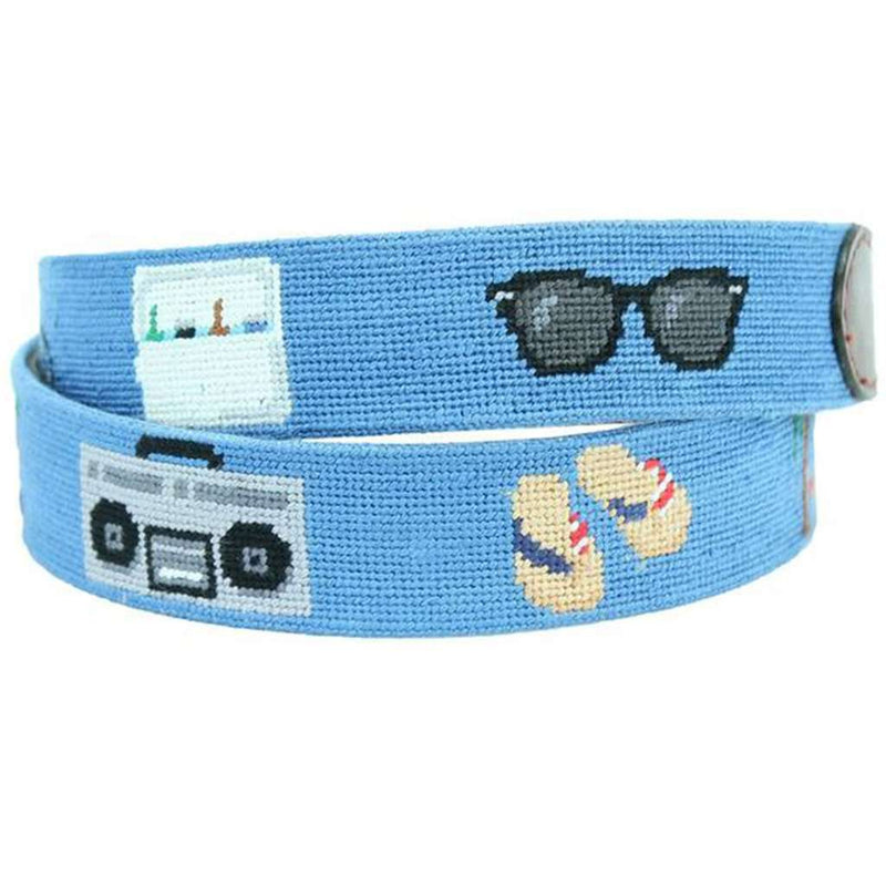 Sunday Funday Needlepoint Belt in Cornflower Blue by Smathers & Branson