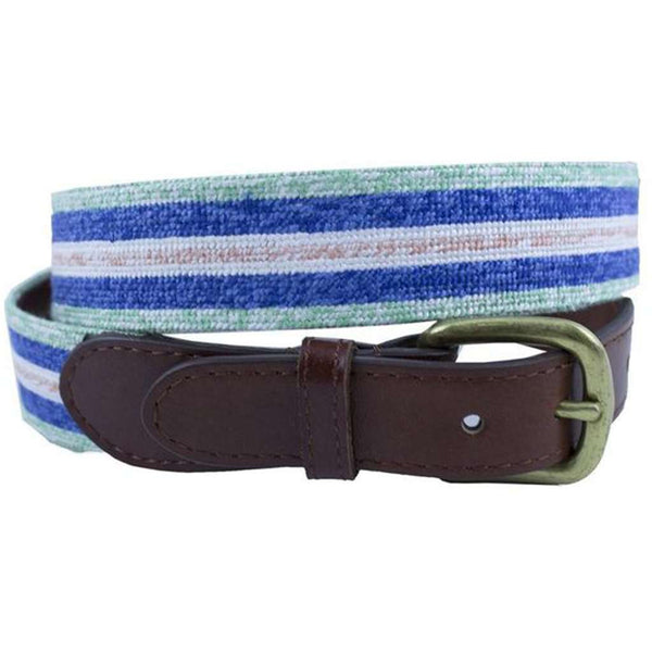 Surfer Stripe Needlepoint Belt in Mint by Smathers & Branson
