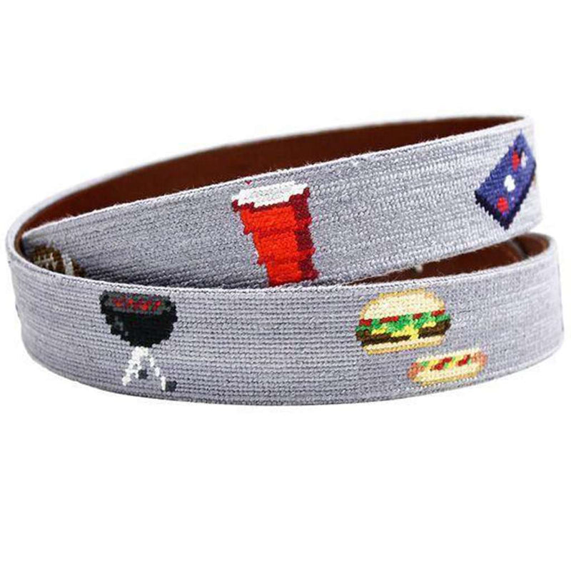 Tailgating Needlepoint Belt in Steel Grey by Smathers & Branson