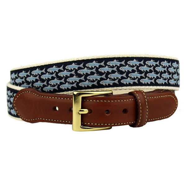 Tarpon School's Out for Summer Leather Tab Belt in Navy by Country Club Prep