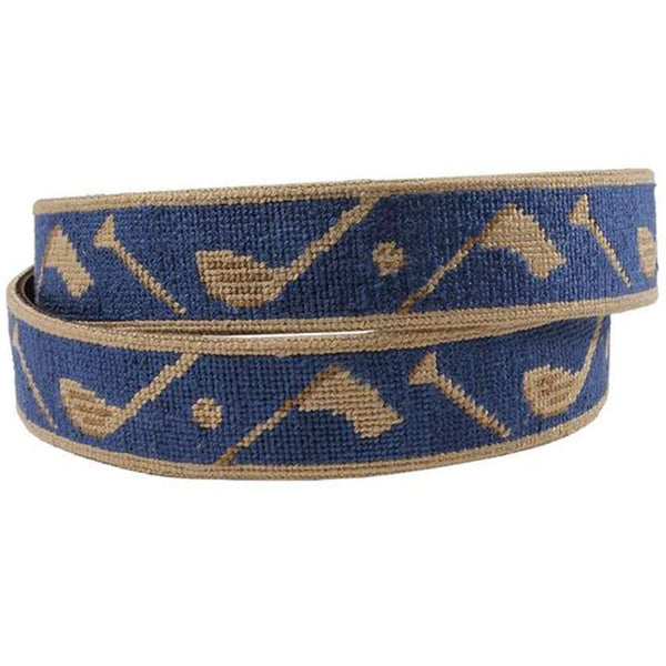 Tee it Up Needlepoint Belt in Classic Navy by Smathers & Branson
