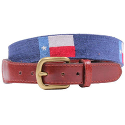 Texas Flag Needlepoint Belt in Blue by Smathers & Branson