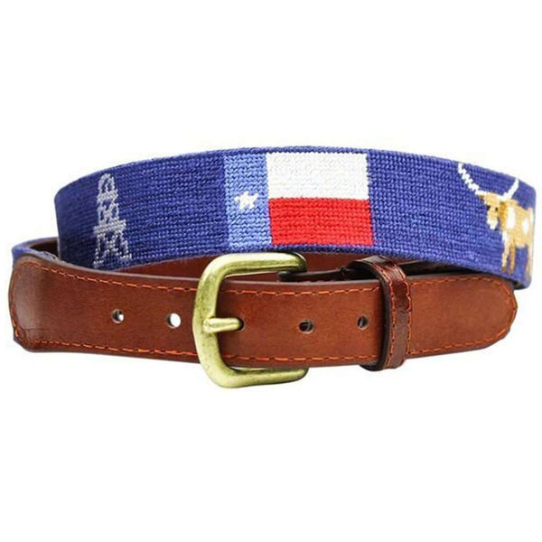 Texas Life Needlepoint Belt in Navy by Smathers & Branson