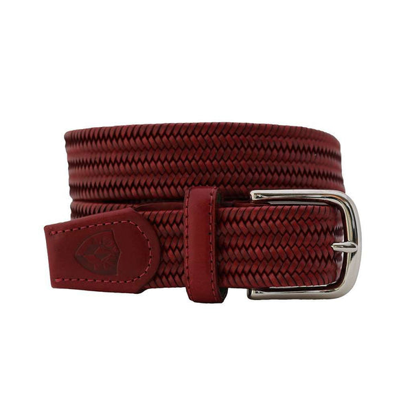 Men's Belts - The Back Nine Woven Leather Belt In Georgia Red By Bucks Club