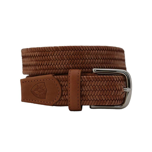 Men's Belts - The Back Nine Woven Leather Belt In Natural By Bucks Club