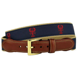 The Lobster Clause Leather Tab Belt in Navy by Country Club Prep