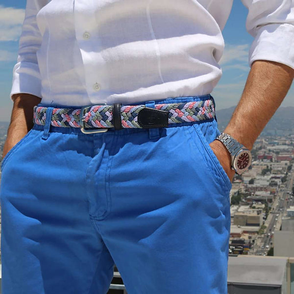 The Madras Woven Cotton Belt in Dandy Blue by Bucks Club