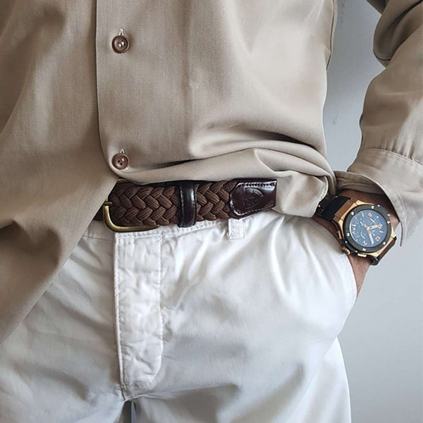 Men's Belts - The Nautilus Woven Rayon Belt In Cocoa By Bucks Club