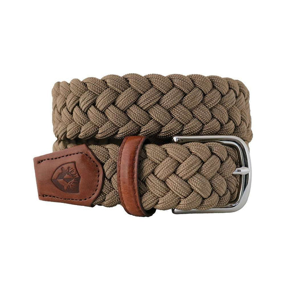 Men's Belts - The Nautilus Woven Rayon Belt In Dark Beige By Bucks Club