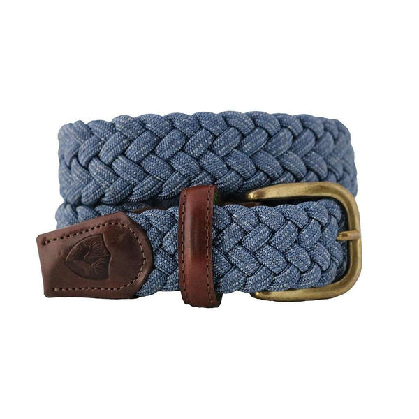 Men's Belts - The Nautilus Woven Rayon Belt In Jeans Blue By Bucks Club