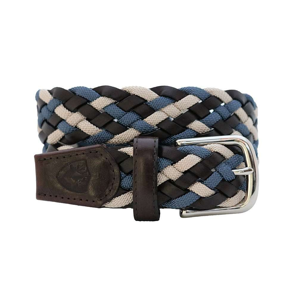 Men's Belts - The Privilege Leather And Rayon Woven Belt In Montenegro Nickel By Bucks Club
