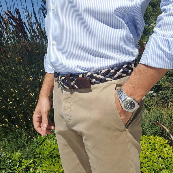 The Privilege Leather and Rayon Woven Belt in Montenegro Nickel by Bucks Club