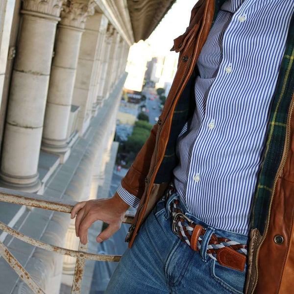 The Privilege Leather and Rayon Woven Belt in Whiskey Neat by Bucks Club