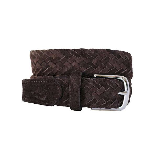 Men's Belts - The Reason Woven Leather Belt In T Moro Dark Brown Suede By Bucks Club