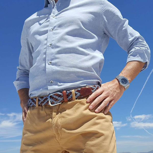 The Tweed Woven Leather Belt in Blue by Bucks Club