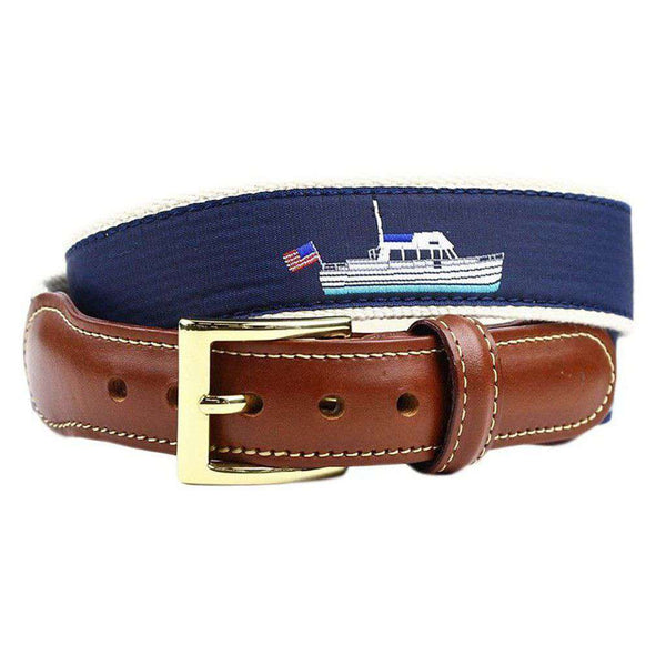Trawler Boat Leather Tab Belt in Navy by Country Club Prep