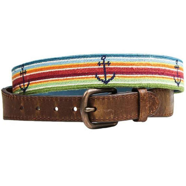 Tropical Anchor Needlepoint Belt in Multi by Smathers & Branson