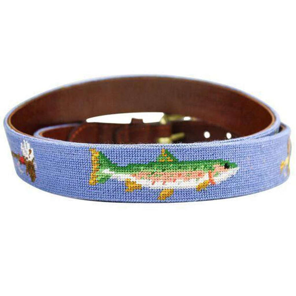 Trout and Fly Needlepoint Belt in Stream Blue by Smathers & Branson
