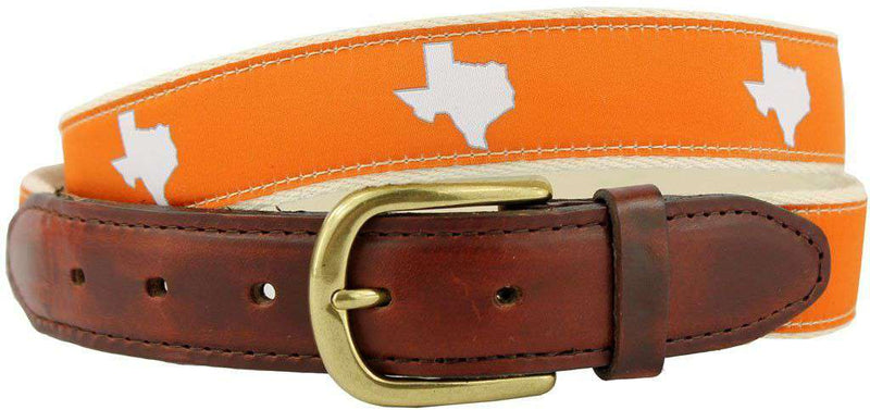 Men's Belts - TX Austin Gameday Leather Tab Belt In Burnt Orange Ribbon W/ White Canvas Back By State Traditions