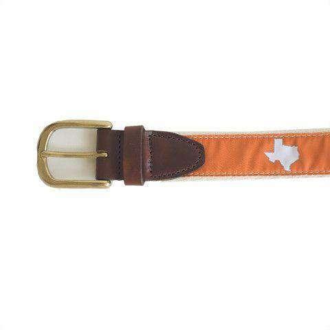 TX Austin Gameday Leather Tab Belt in Burnt Orange Ribbon w/ White Canvas Back by State Traditions