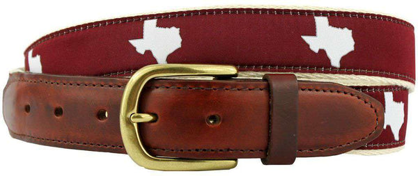 Men's Belts - TX College Station Gameday Leather Tab Belt In Maroon Ribbon W/White Canvas Back By State Traditions