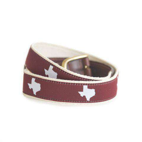TX College Station Gameday Leather Tab Belt in Maroon Ribbon w/White Canvas Back by State Traditions - Country Club Prep