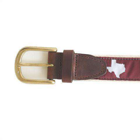 TX College Station Gameday Leather Tab Belt in Maroon Ribbon w/White Canvas Back by State Traditions