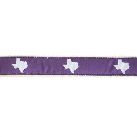 TX Fort Worth Gameday Leather Tab Belt in Purple Ribbon w/ White Canvas Backing by State Traditions - Country Club Prep