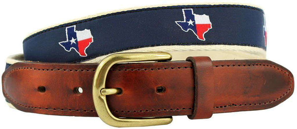 TX Traditional Leather Tab Belt in Navy Ribbon with White Canvas Backing by State Traditions - Country Club Prep