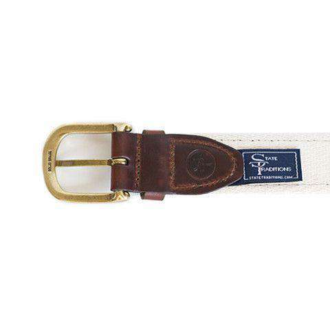 Men's Belts - TX Traditional Leather Tab Belt In Navy Ribbon With White Canvas Backing By State Traditions